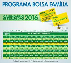 Bolsa Família: calendário de pagamentos de 2016