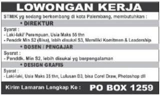 Loker -Direktur -Dosen/Pengajar - Design Grafis (STMIK Palembang)