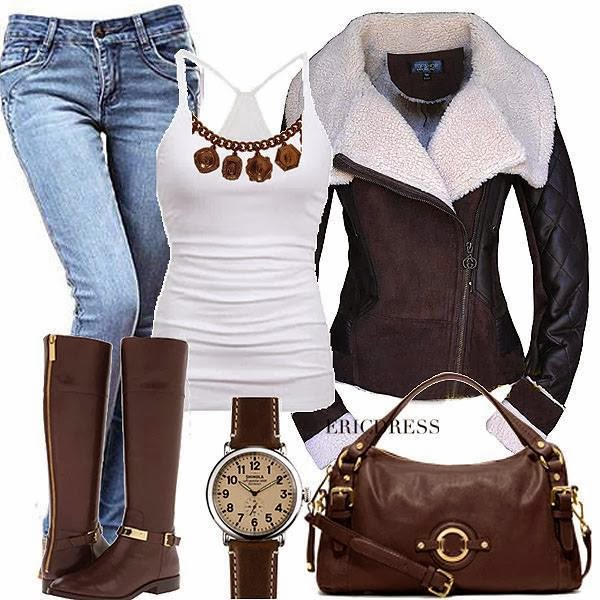 Jeans, white blouse, adorable brown jacket, long boots and handbag for fall