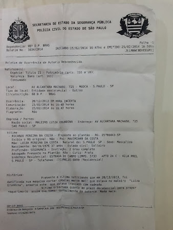 Maleiro da Prefeitura Luiza Heundina.  DATA DA OCORRENCIA INCERTA.