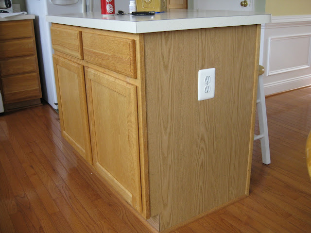 oak cabinet kitchen island transformed - makeover