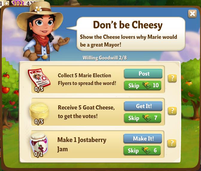 Farm Ville 2: Tips & Cheats: Willing Goodwill: Quest 1-8