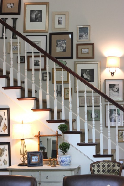 Sweet chaos home stairway gallery wall for Picture gallery wall