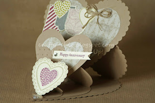 fancy fold, triple easel, hearts a flutter, stampin up