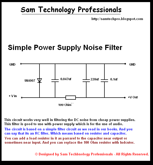 Dc power supply noise filter circuit