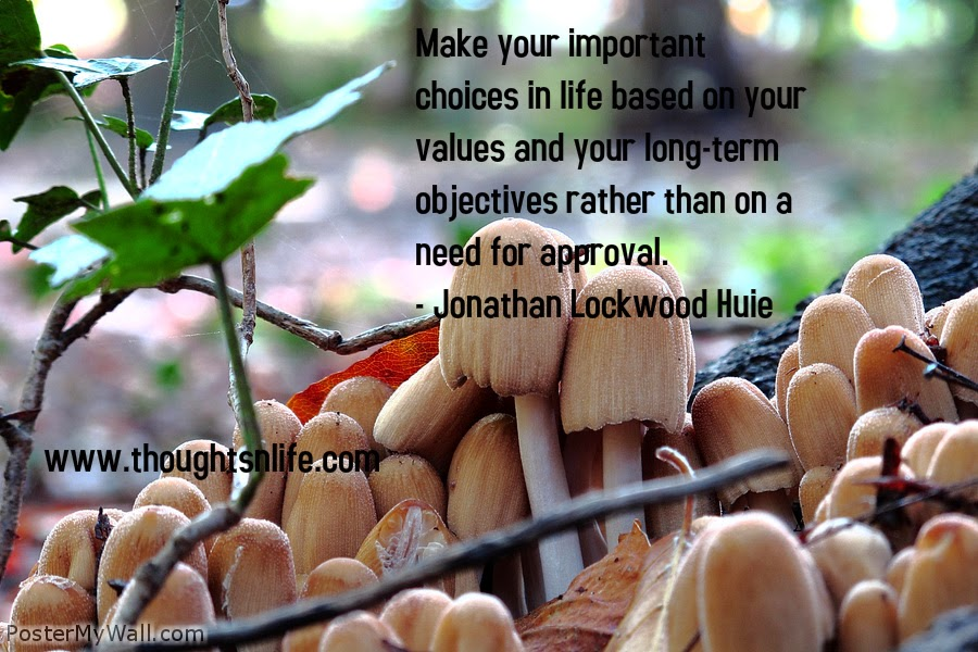 Thoughtsnlife.com : Make your important choices in life based on your values and your long-term objectives rather than on a need for approval. - Jonathan Lockwood Huie