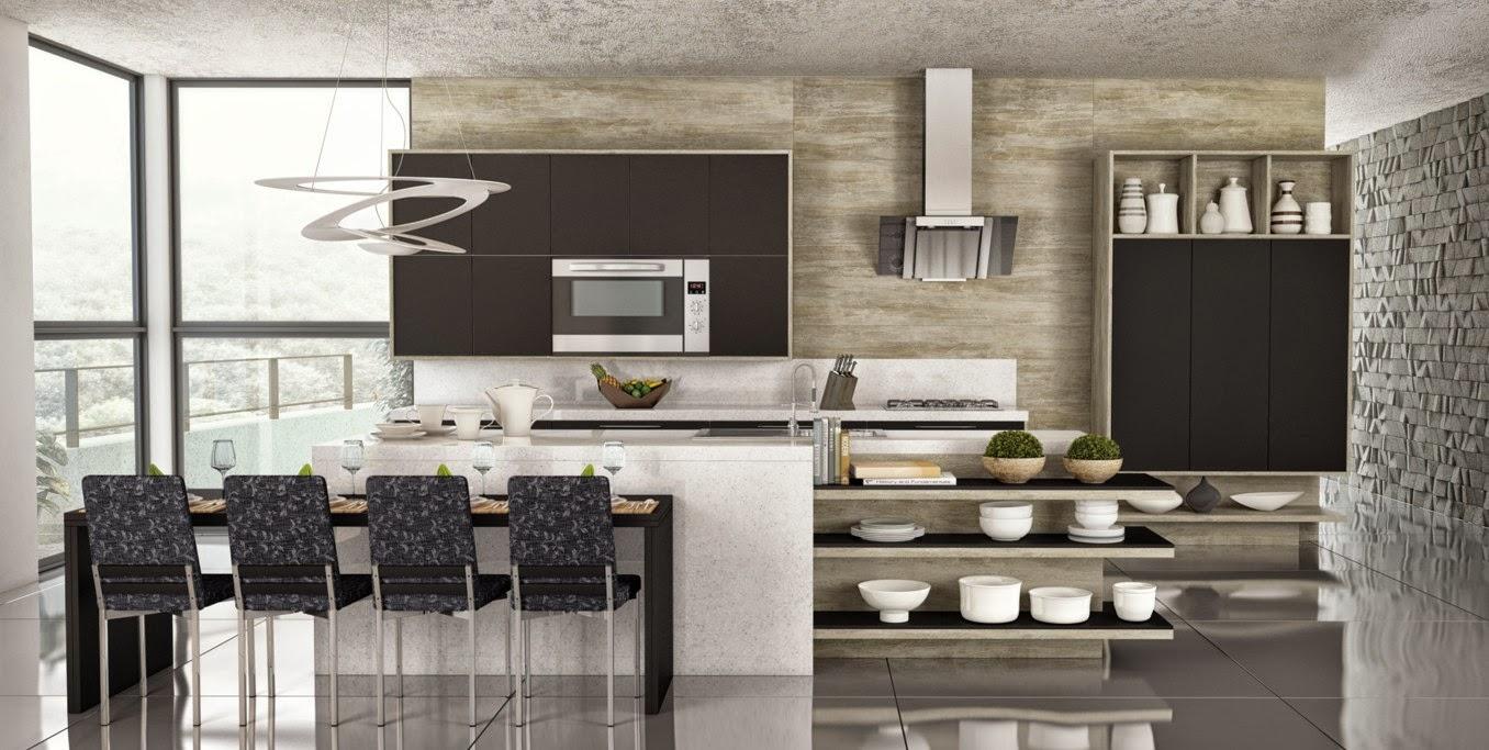 Cozinhas moduladas modernas e acessíveis – veja modelos lindos e dicas de com # Cozinha Planejada Com Churrasqueira