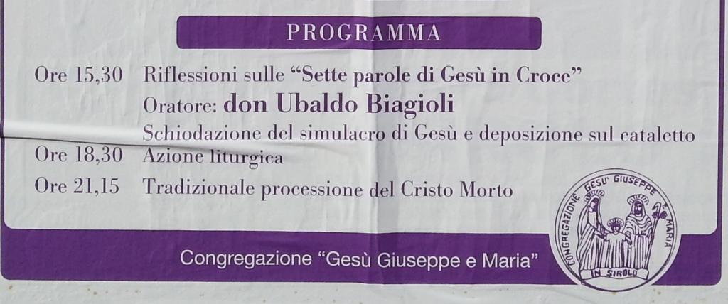 Venerdì Santo a Sirolo programma 2013