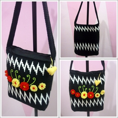 Sling Bag Crochet Pattern : , Asyikins sling bag is finished. She wants a black&white sling bag ...
