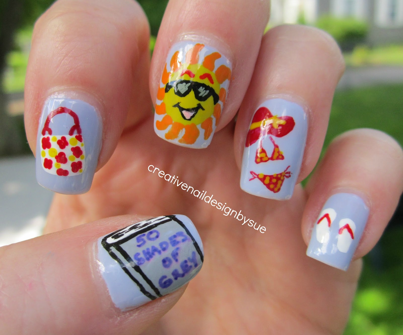 Creative nail design by sue lazy days of summer beach theme lazy days of summer beach theme prinsesfo Choice Image