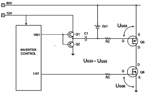 Hình 6 - Chức năng của cặp C1 và Dz1 là tạo ra điện áp phân cực cho đèn Q5 (Mosfet thuận) có điện áp UGS  tương đương với UGS của đèn Q6.