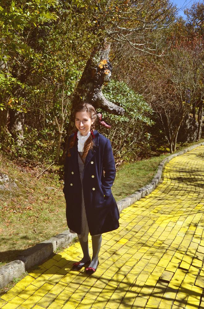 Dorothy costume, yellow brick road