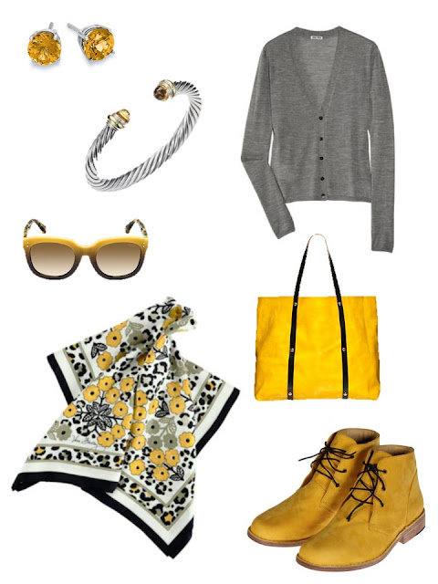 grey and yellow accessories with a grey cardigan and yellow boots