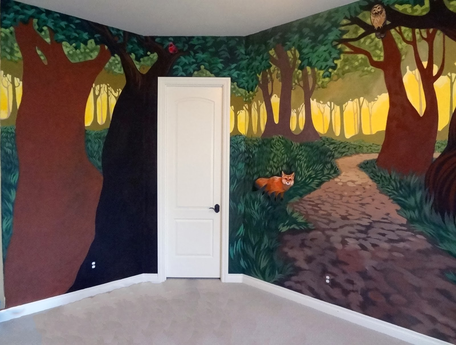 forest wall mural, kids room forest wall mural, portland muralist kids rooms, nursery mural