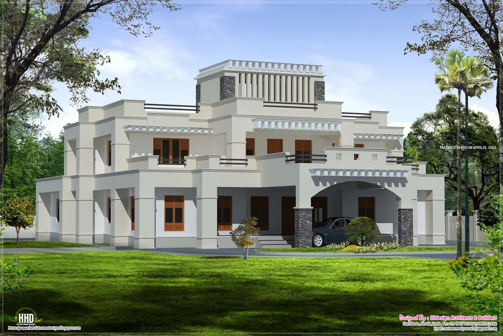 Square roof luxury villa exterior kerala home design for Villa style homes