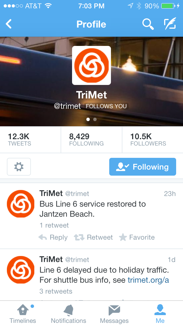 the TriMet Profile page in