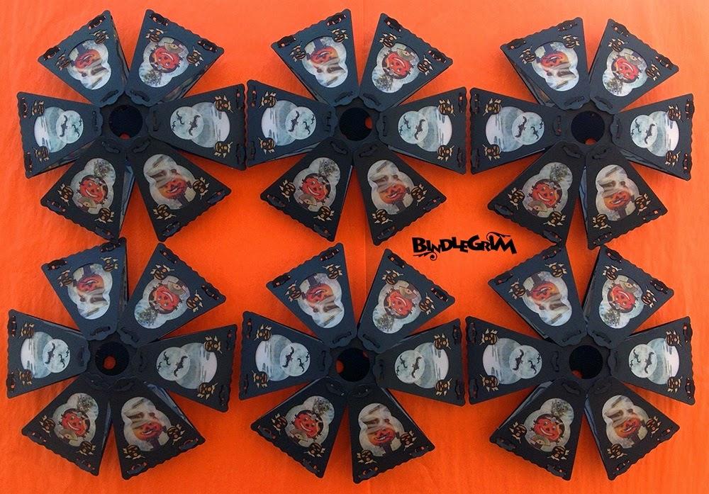 Six vintage-style Halloween lanterns by Bindlegrim feature Jack O'Lantern male female couple