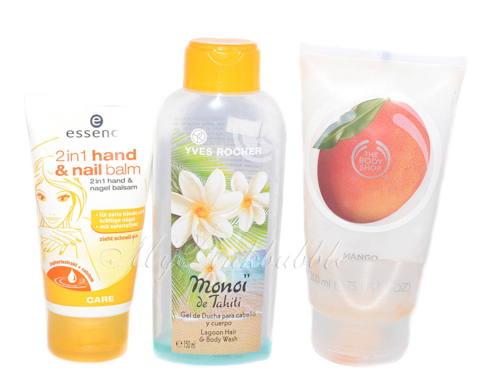 Essence crema manos Yves rocher monoi tahiti Body shop sorbet