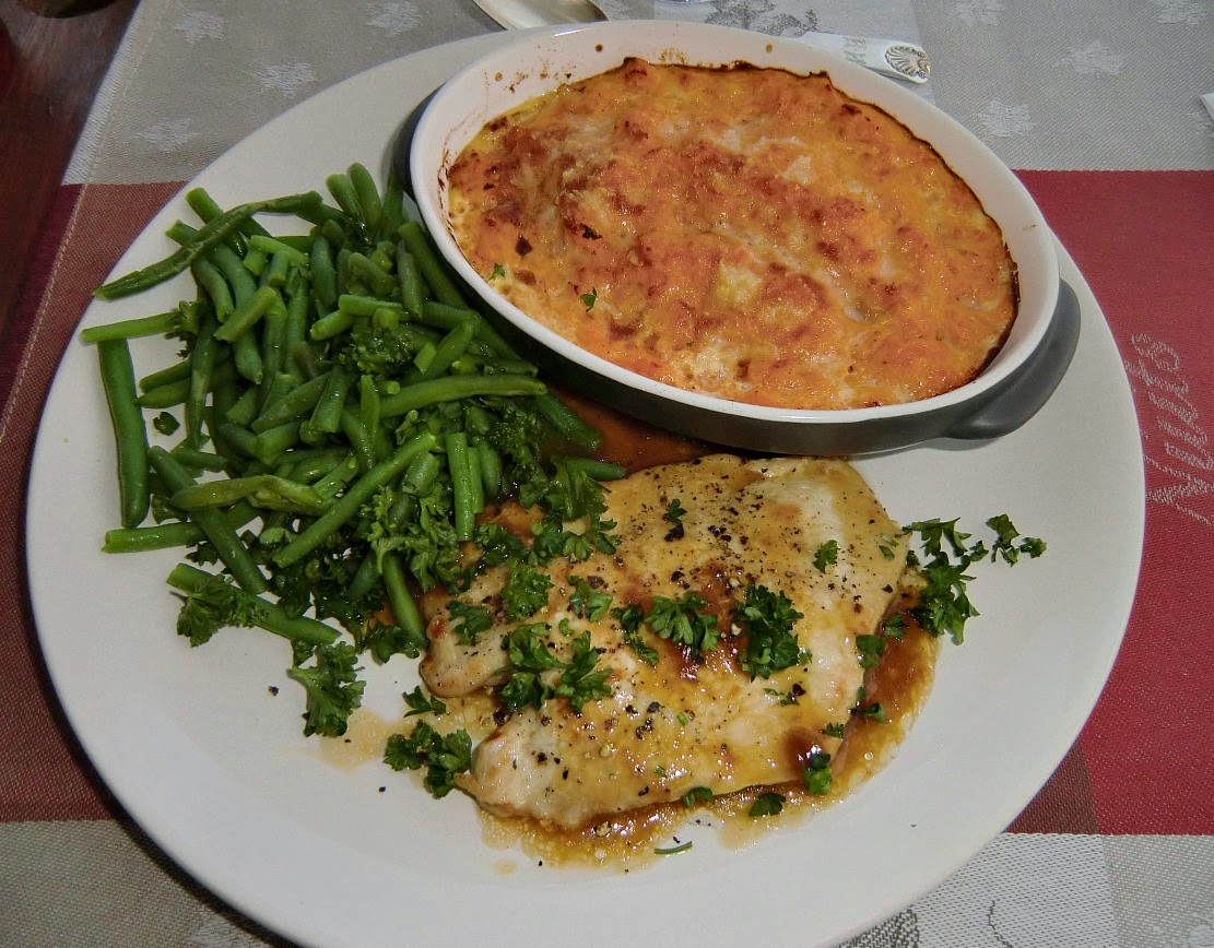 Turkey escalopes with winter squash gratin