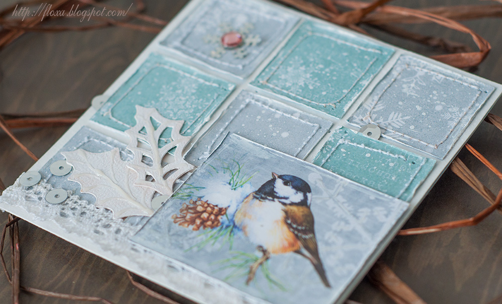 открытка скрап, открытка с птичкой зимняя
