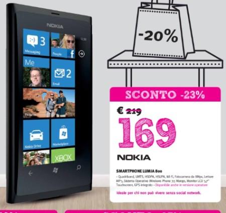 Sul volantino Supermedia torna in promozione il Lumia 800 venduto al prezzo interessante di soli 169 euro