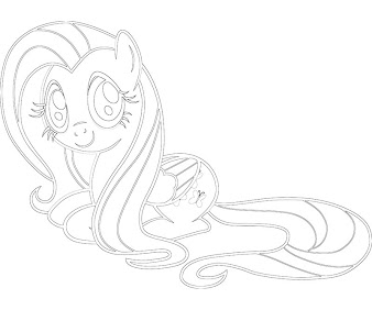 #9 Fluttershy Coloring Page