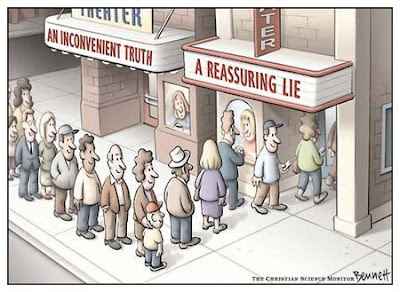 Cartoon of two movie queues - an empty one for An Inconvenient Truth, a long one for A Reassuring Lie