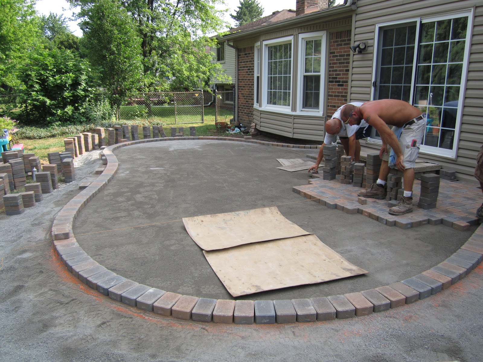 Brick pavers canton plymouth northville novi michigan repair cleaning sealing - Concrete backyard design ...