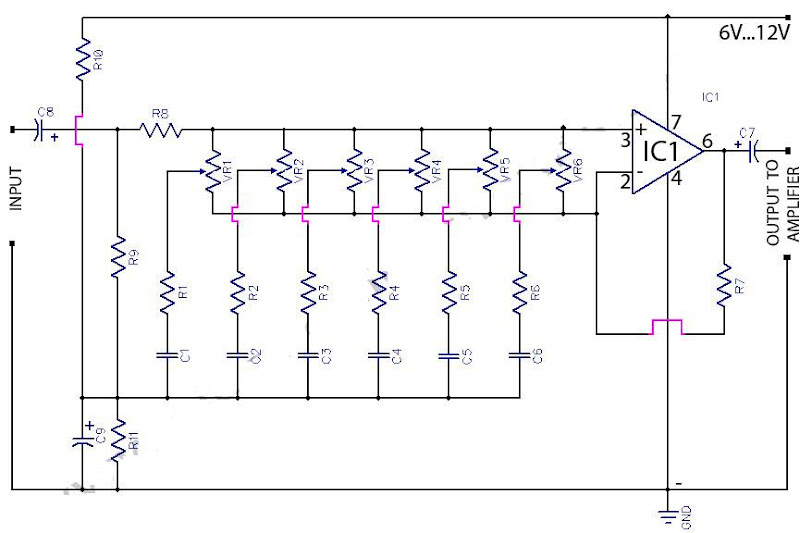 6 Band Graphic Equaliser Using 741 Op-Amp