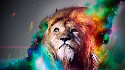 El rey león pintado de muchos colores y muy bien peinado