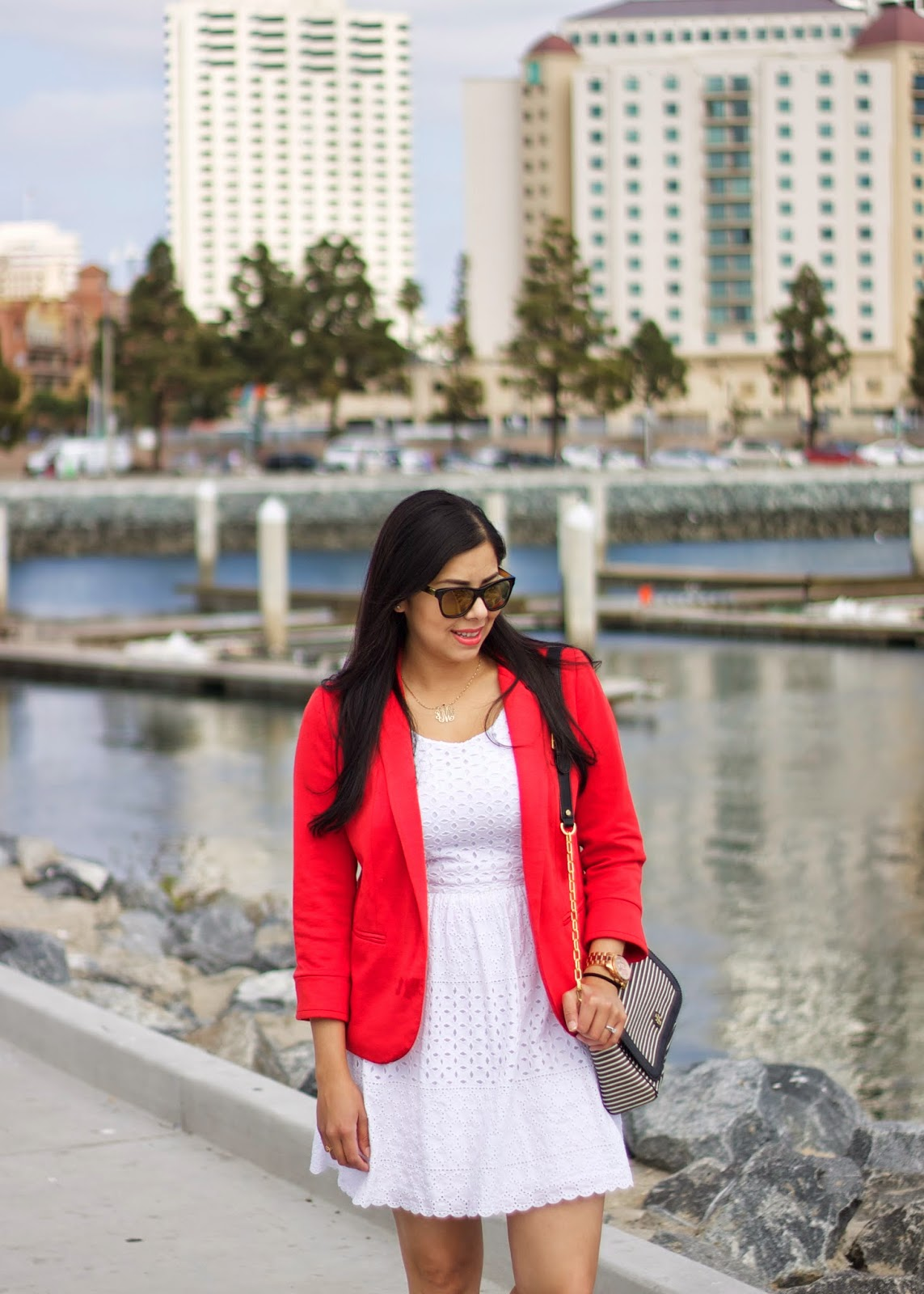 Walking around in San Diego Outfit, Red blazer pop, white dress old navy