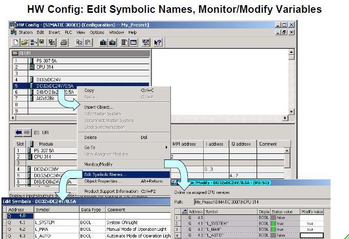 HW Config Edit Symbolic Names  Monitor Modify Variables