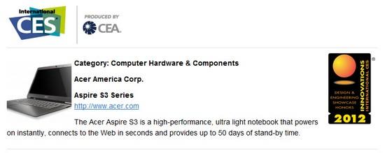 Ultrabook Notebook Acer Aspire S3 Raih Penghargaan