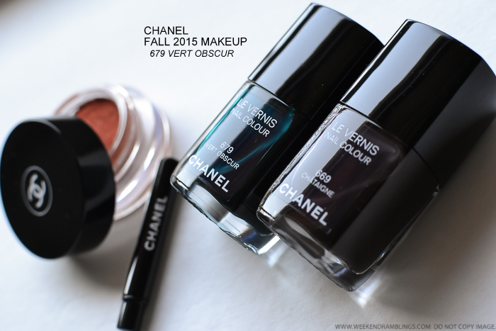 Chanel Les Automnales Fall 2015 Makeup Collection - Le Vernis Nail Polish - 679 Vert Obscur - 669 Chataigne - Swatches