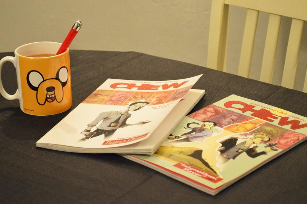 Chew comics and Adventure Time mug