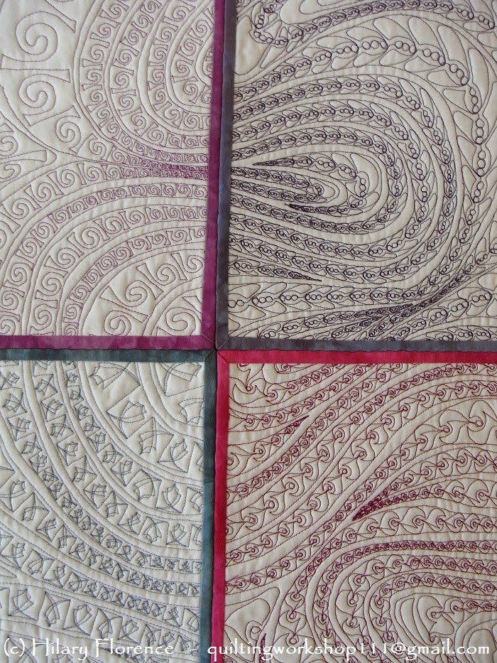 Hilary Florence Quilting Workshop, Round the Bend in 12 Squares - detail, Art Quilt, fre motion quilting, hand dyed fabric