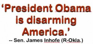 Senator Jim Inhofe, R-OK, addressing President Obama cutting military programs