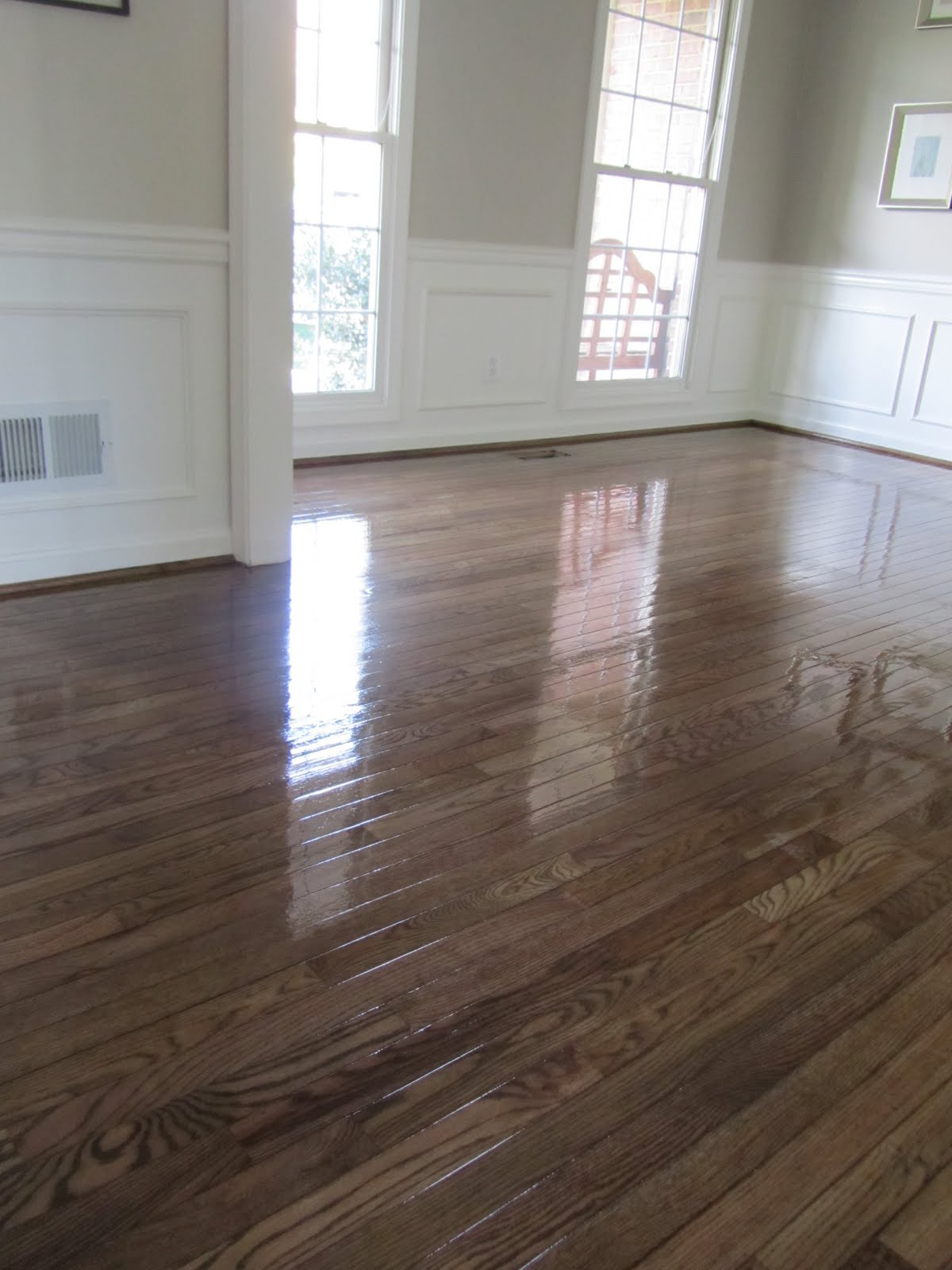 Acanthus and acorn the process of refinishing hardwood for Staining hardwood floors