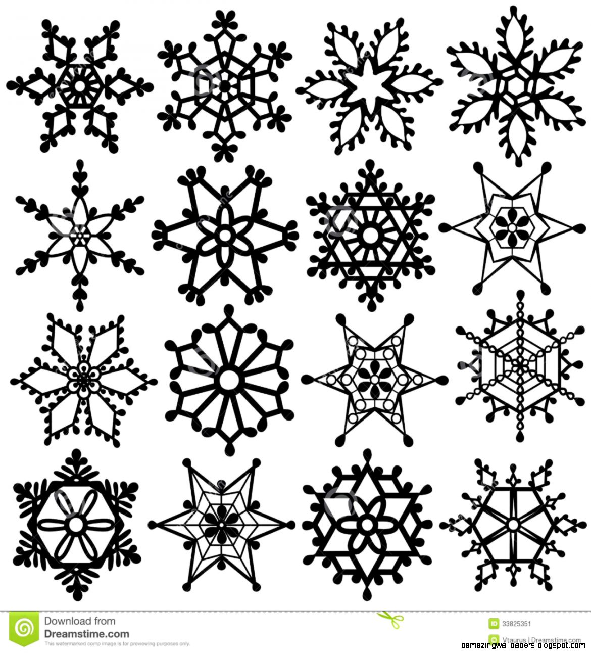 Black And White Snowflake Clipart   Clipart Kid