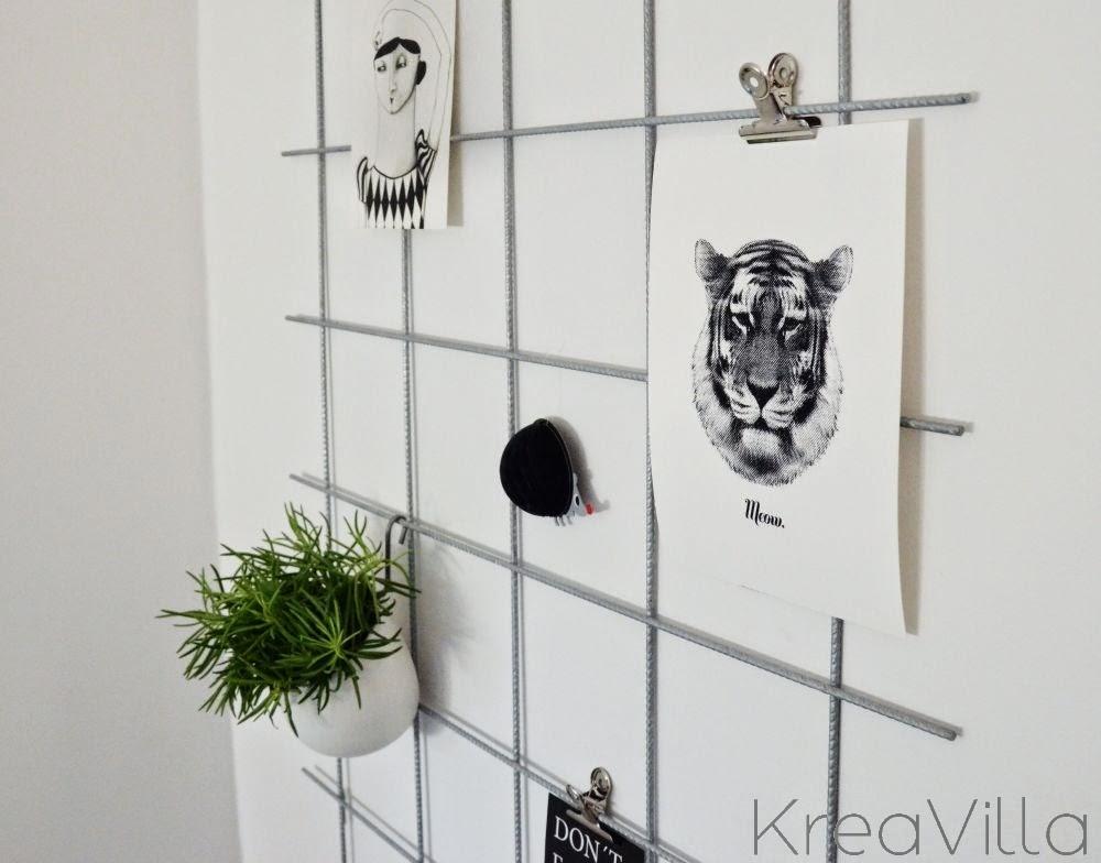 opslagstavle af metalgitter diy kreavilla. Black Bedroom Furniture Sets. Home Design Ideas