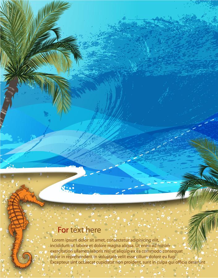 波打つ浜辺の背景 Summer beach background イラスト素材