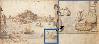 Piazza Barberini (L.Cruyl, 1665), e particolare