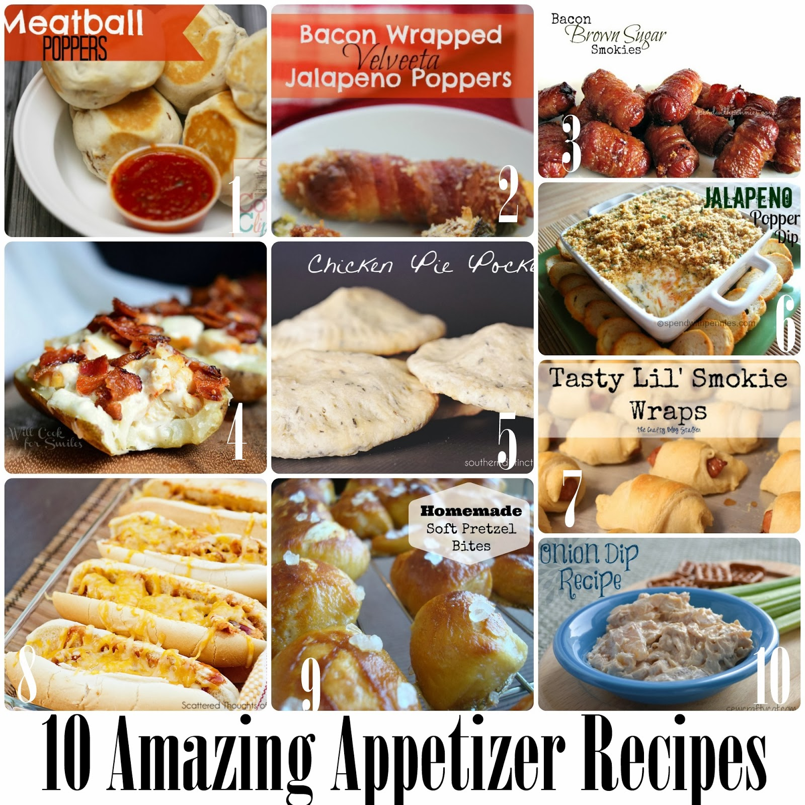 10 Amazing Appetizer Recipes over at Making the World Cuter