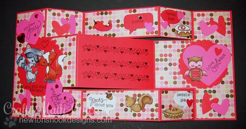 Tri-shutter Valentine Card by Crafty Math-Chic for Newton's Nook Designs