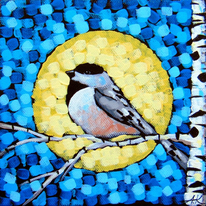 Moonlight chickadee, birch, moon, aaron kloss, minnesota, pointillism, landscape, night