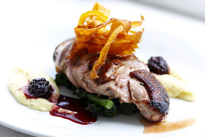 Irish duck breasts, parsnip purée with a cranberry and red wine sauce