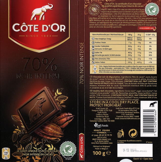 tablette de chocolat noir dégustation côte d'or noir intense 70 2