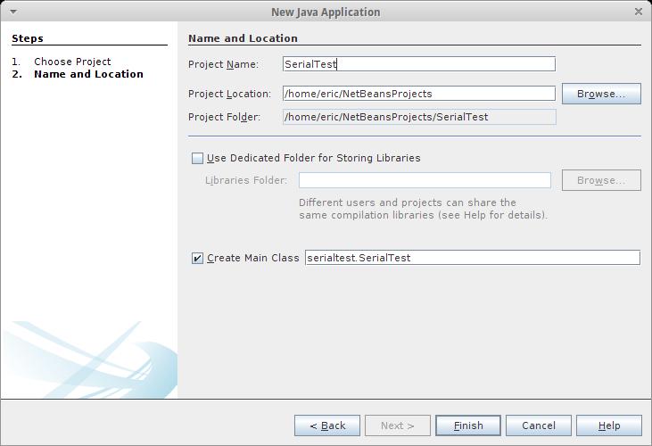 Arduino er create java project using librxtx in