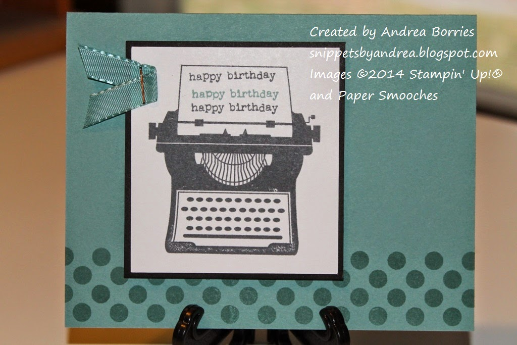 "Masculine birthday card with a vintage typewriter as the focal image. On the paper in the typewriter is stamped ""happy birthday"" three times."