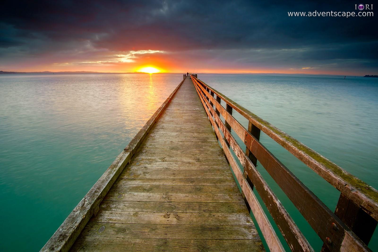 Philip Avellana, iori, adventscape, Cornwallis, jetty, seascape, landscape, North Island, New Zealand, fine art, sunrise
